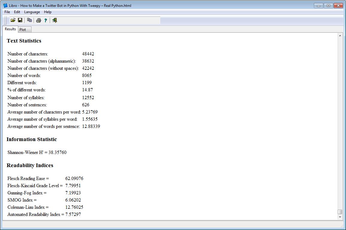 Libro: Text Analysis tool -  Stats