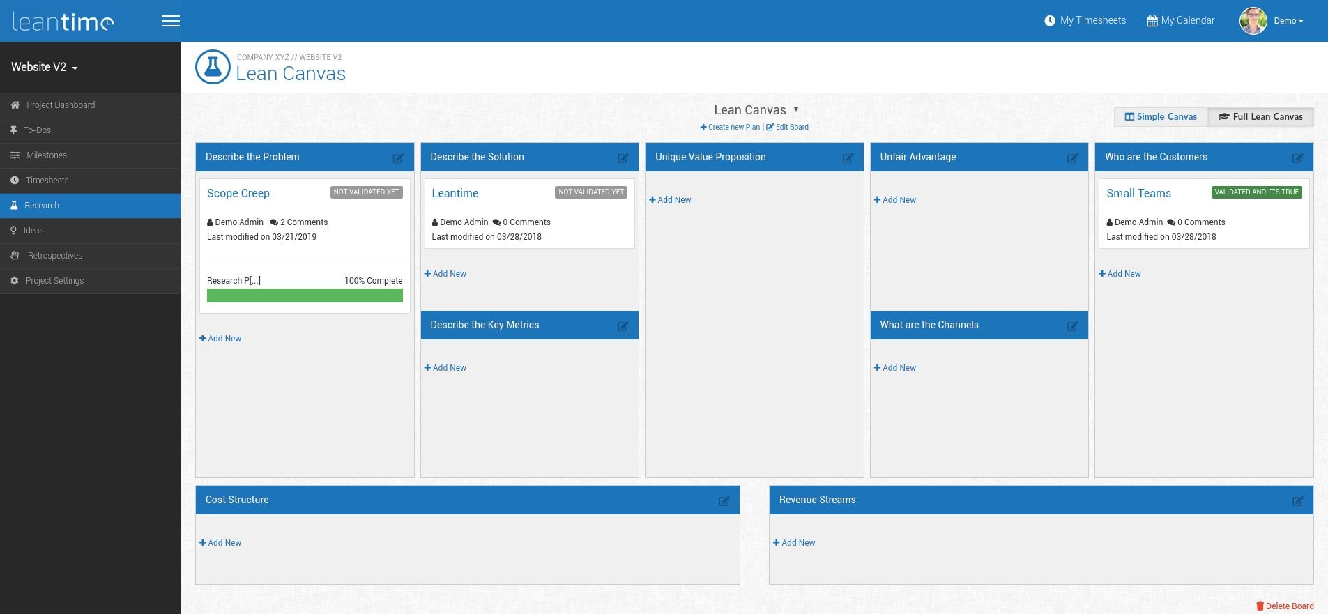 Leantime: Lean Canvas manager