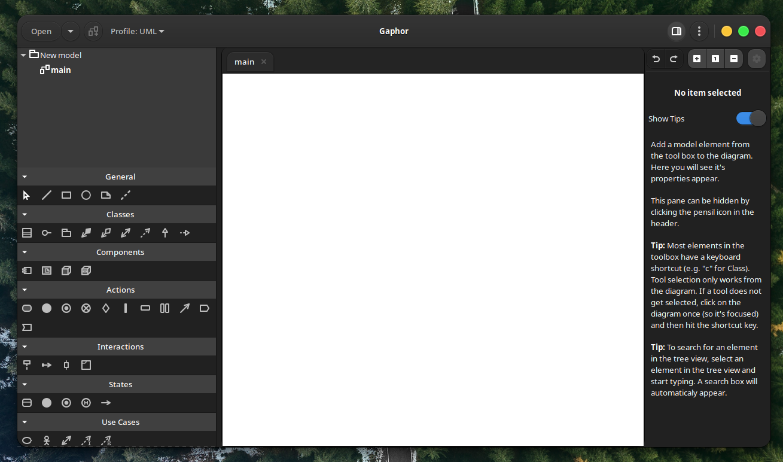 Gapher on Manjaro Linux with Dark Theme (src. Medevel.com)