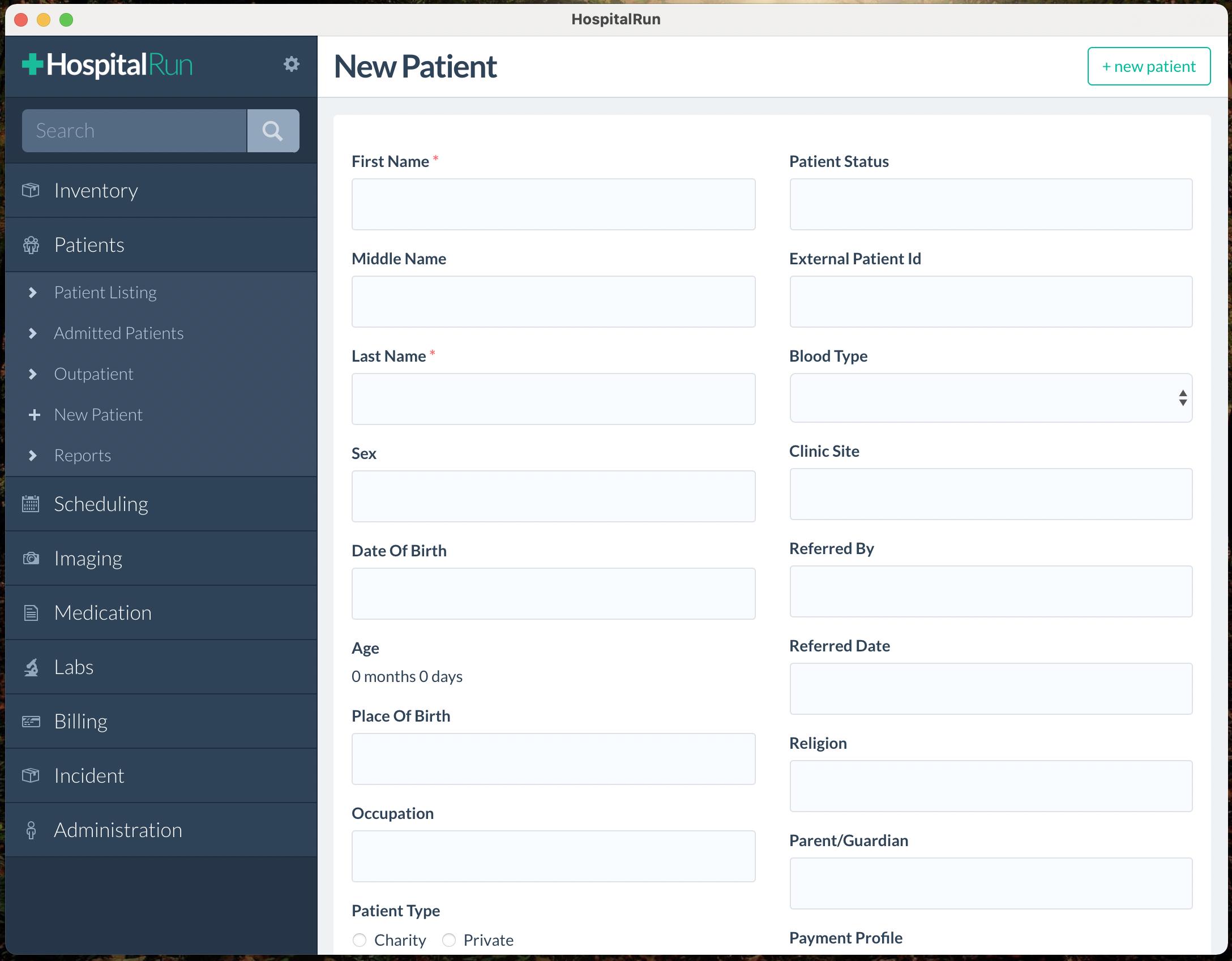 HospitalRun Client on macOS