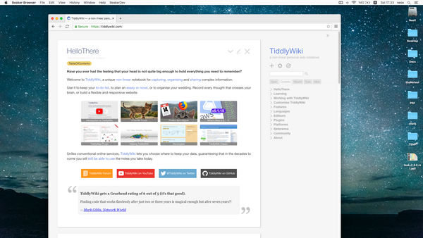 TiddlyWiki : Open source one file wiki that runs everywhere.
